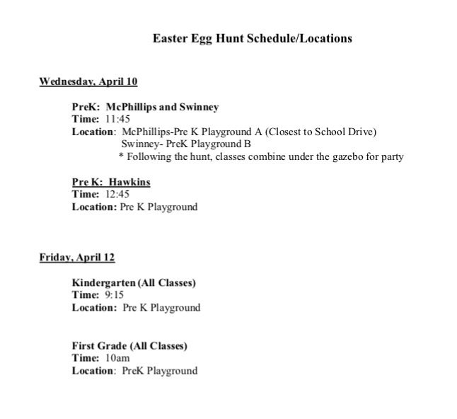 Easter Egg Hunt Schedule and Location